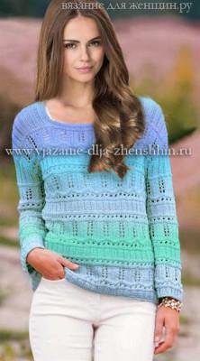 a08c1797cc95 Módne dámske svetre pletenie. Model pre jar 2016 s popismi a diagrammi