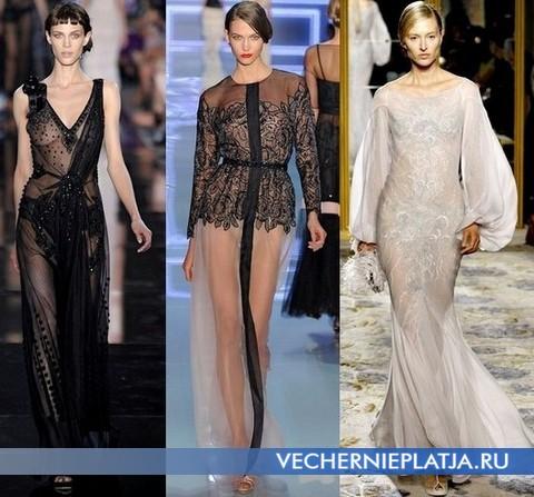 9dfb90d4ad14 Transparentné večerné šaty z tenkých plávajúcich textílií zdobené zložitou  výšivkou vyzerajú veľmi žensky